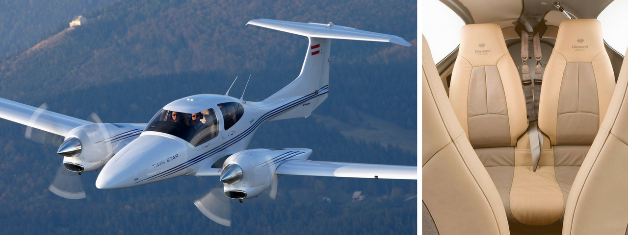 Diamond DA42 Twinstar exterior on right and interior on the left