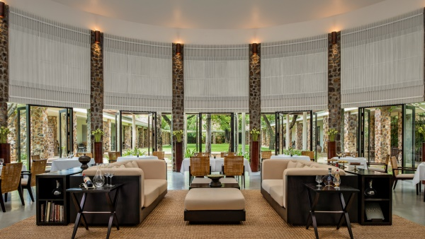 Sleek circular Resturant at Amansara, Siem Reap Resort