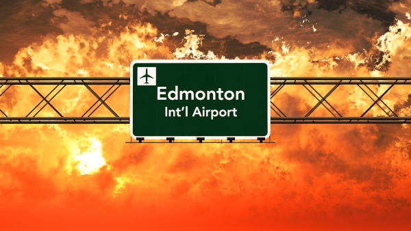 Edmonton Canada Airport Highway Sign in an Amazing Sunset Sunrise