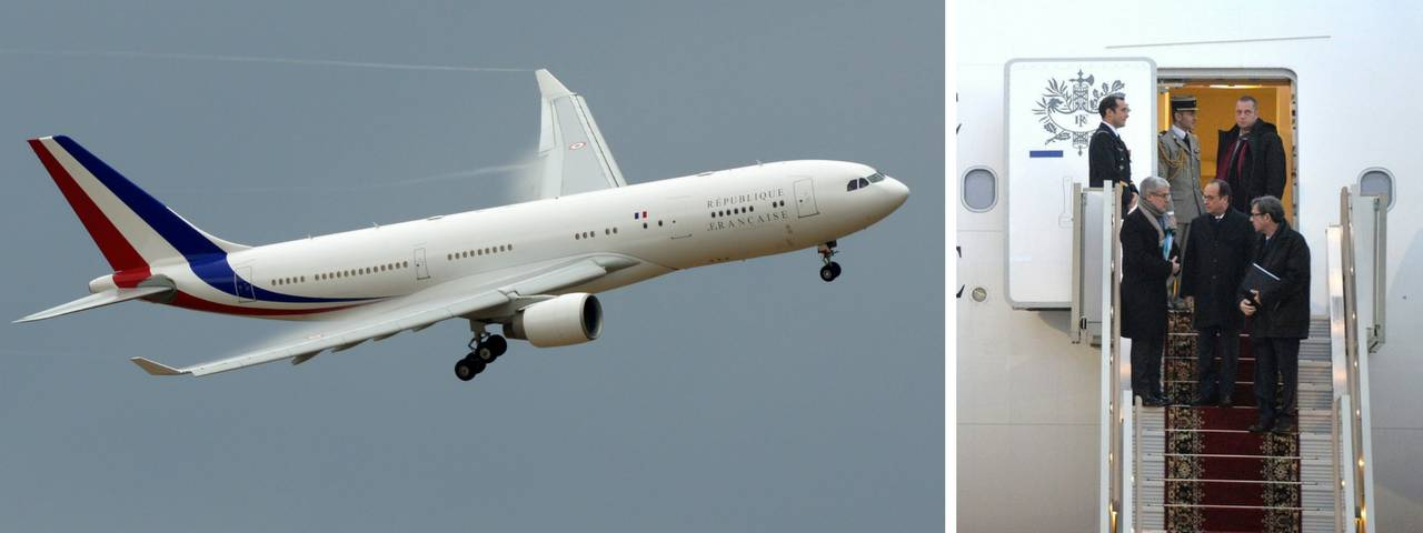 François Hollande exiting his plane on the right and his private jet in flight on the left