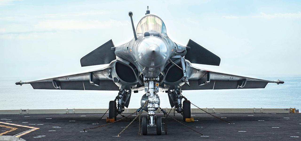 Silver French Rafale Marine pre flight check