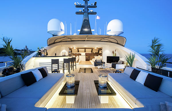 Luxury super-yacht deck and seating area