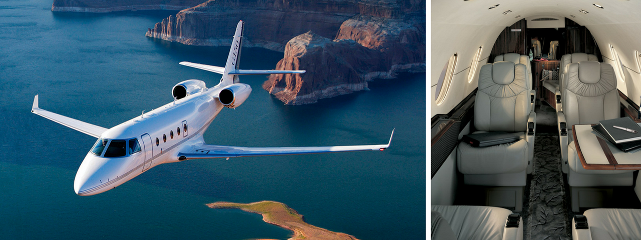 White Gulfstream 150 exterior on the left and the aircraft interior on the right
