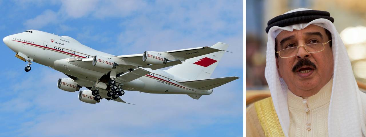 Hamad bin Isa Al Khalifa on the right and his private jet in flight on the left