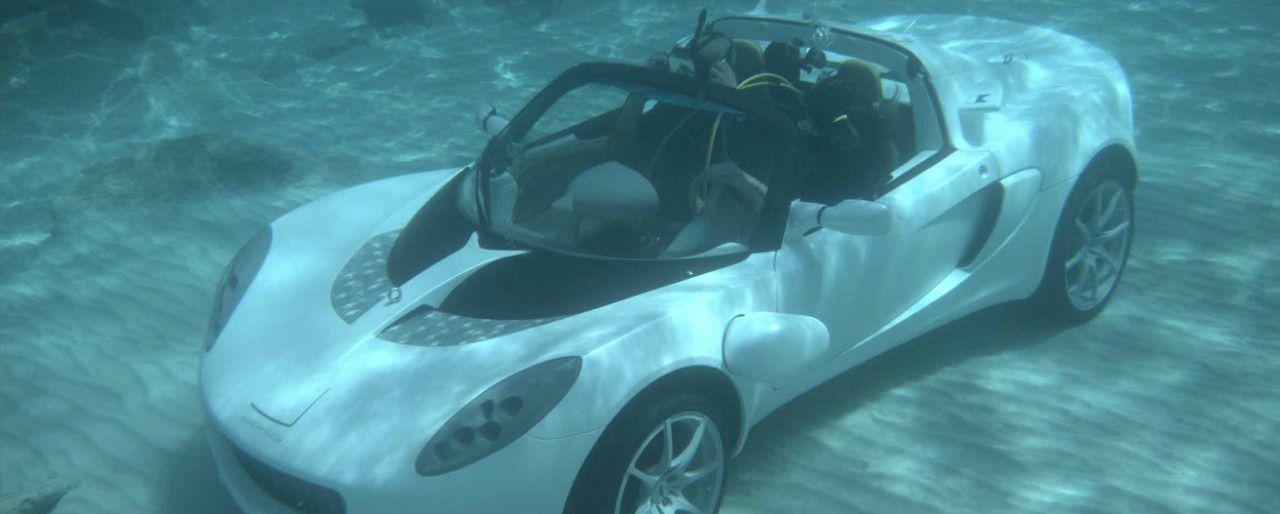 Hammacher Schlemmer sports car, driving along ocean floor