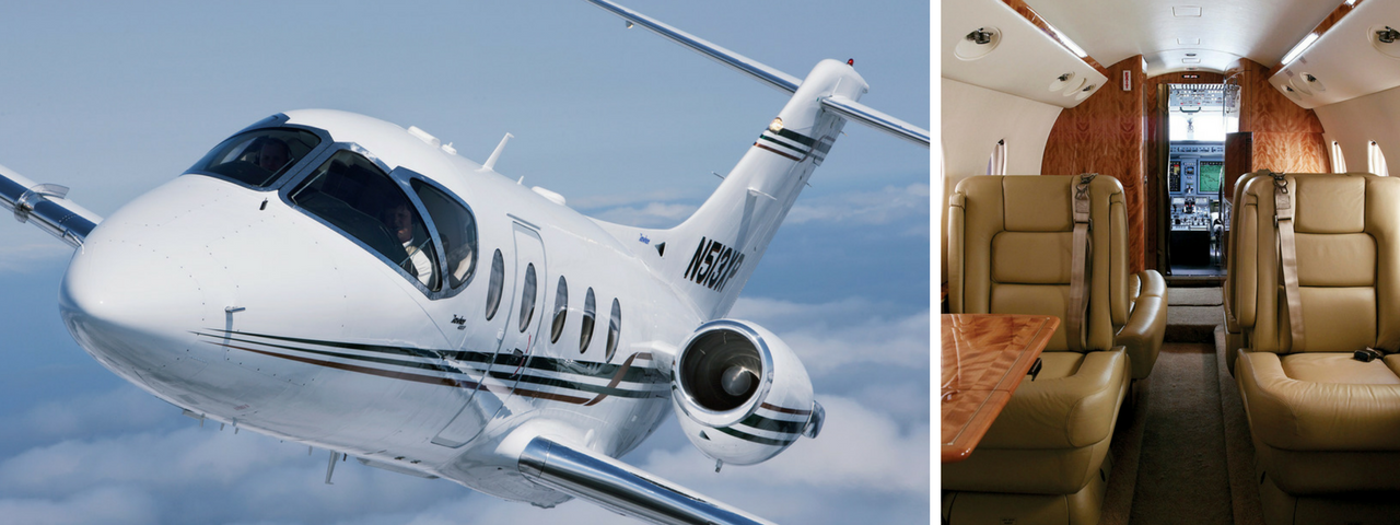 White Hawker Beechcraft 400 exterior on the left and the brown leather interior on the right