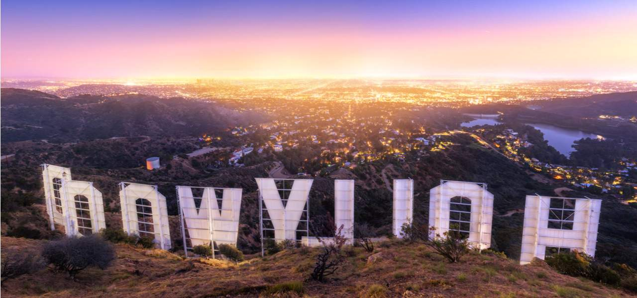 Hollywood sign hike in California during sunset.