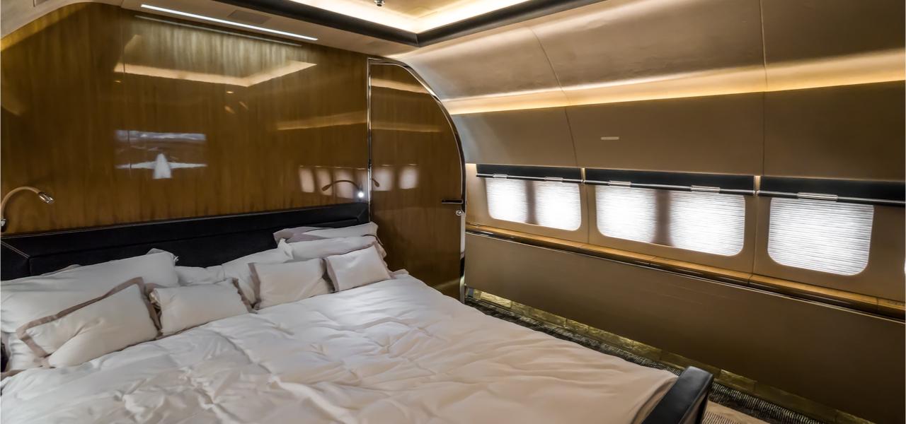 dormitorio de jet de lujo