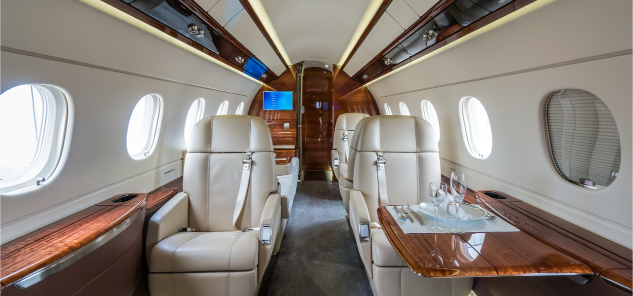 asientos cabina de jet privado