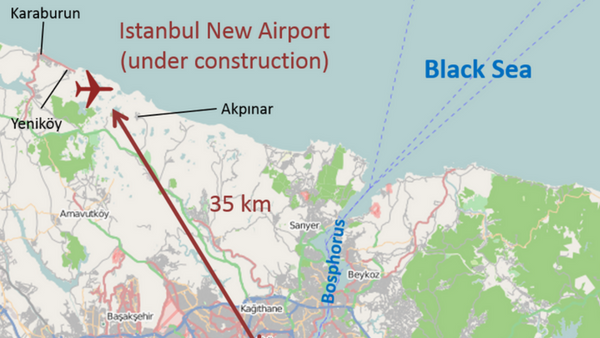 Location of new Istanbul Airport under construction