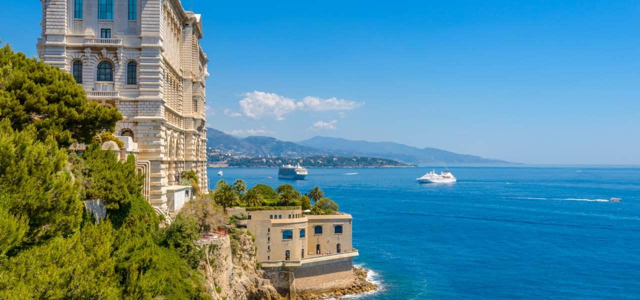 View of the side of The Musée Océanographique de Monaco aquarium in Monaco