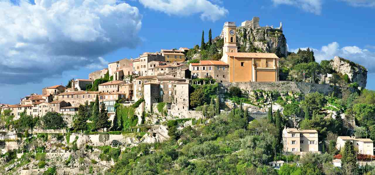 Medieval village Eze on mountain top on a beautiful day