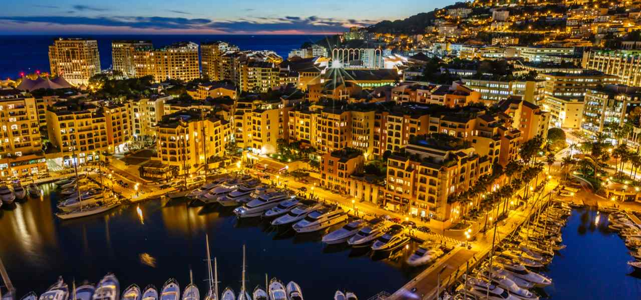 View of Monaco harbour looking beautiful in the early evening