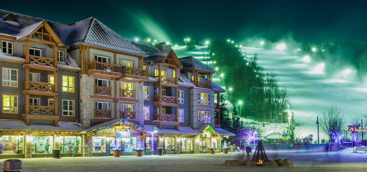 Blue Mountain Ski Resort at night in Ontario Canada