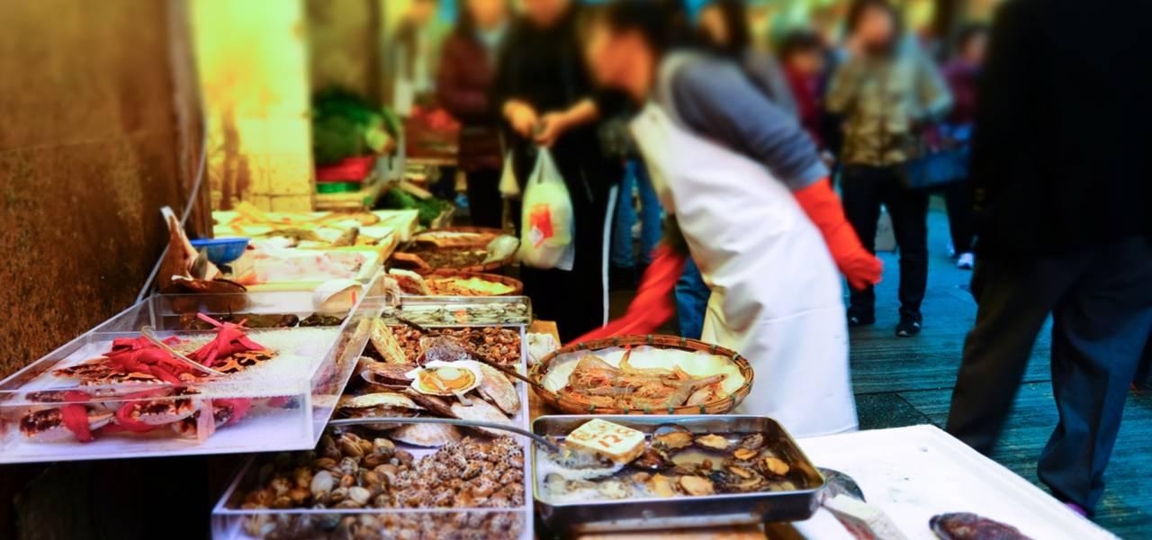 Food on display at Hong Kong street market