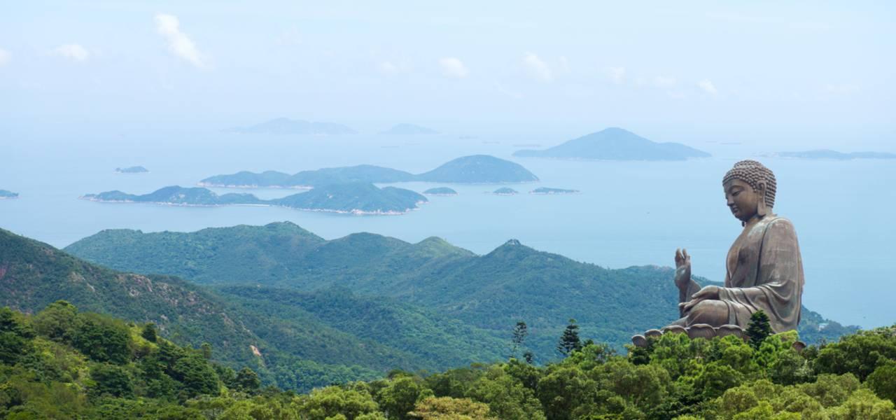 Long range shot of world's biggest outdoor Buddha in Lantau Island