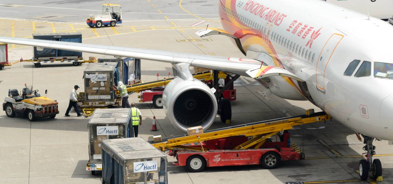 Hong Kong cargo plane being loaded with air freight