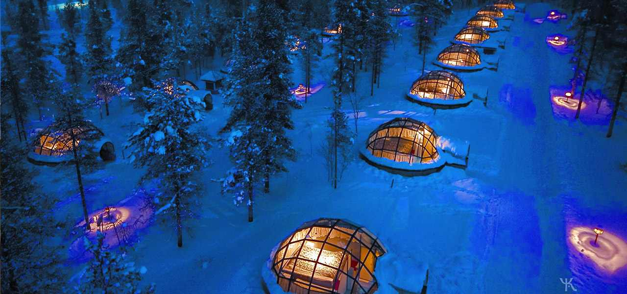 An aerial view of the Kakslauttanen Arctic Resort in Finland