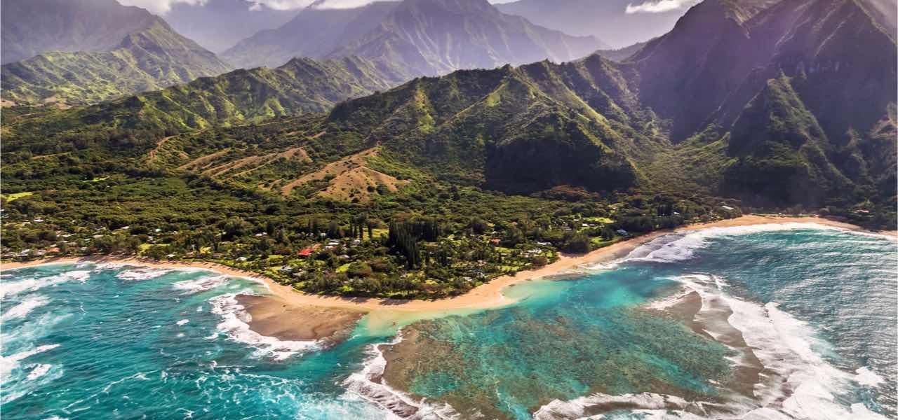 Aerial view of Tunnels beach, Kauai