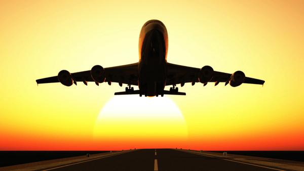 A passenger jet taking flight