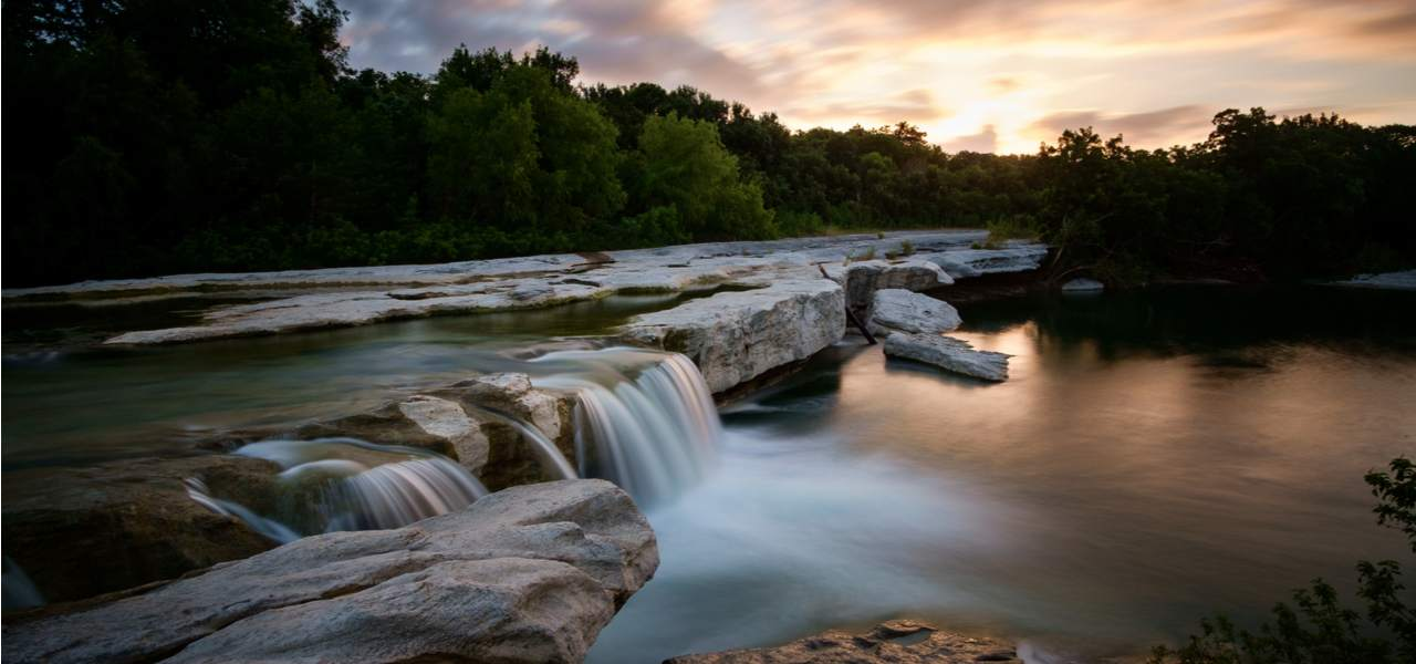 Sunrise at McKinney Falls State Park in Texas.