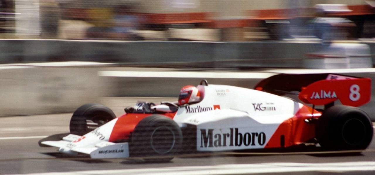Three-time F1 World Drivers' Champion Niki Lauda in 1984 driving a McLaren MP4/2