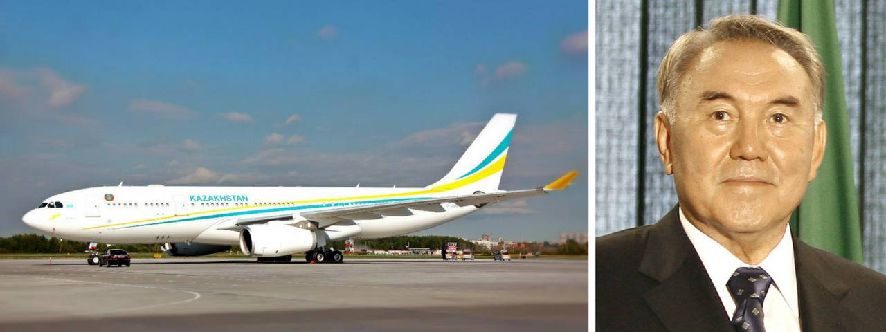 Nursultan Nazarbayev on the right and his private jet on a runway on the left
