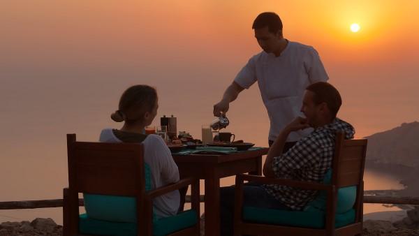 Sunrise Breakfast at Sense on the Edge Restaurant at Zighy Bay, Oman