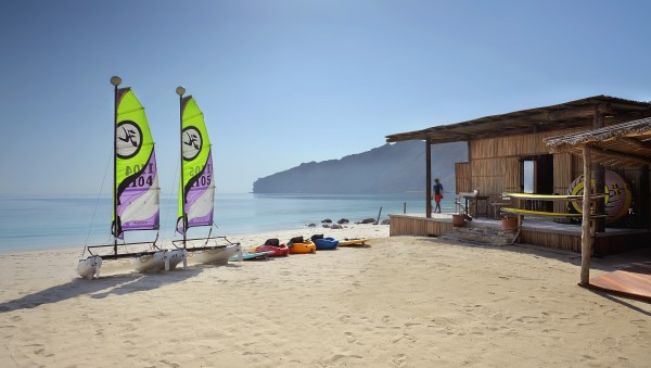 Water Sports Centre on the Beach at Zighy Bay, Oman