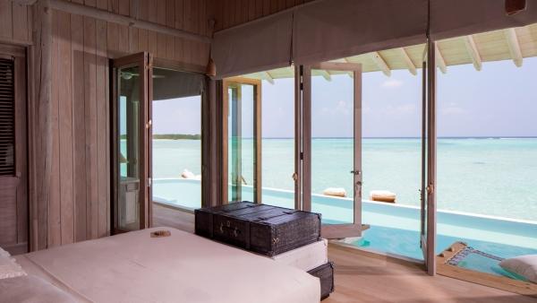 Overwater villa bedroom