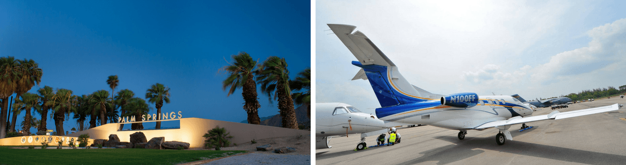 Private jet charter to Palm Springs