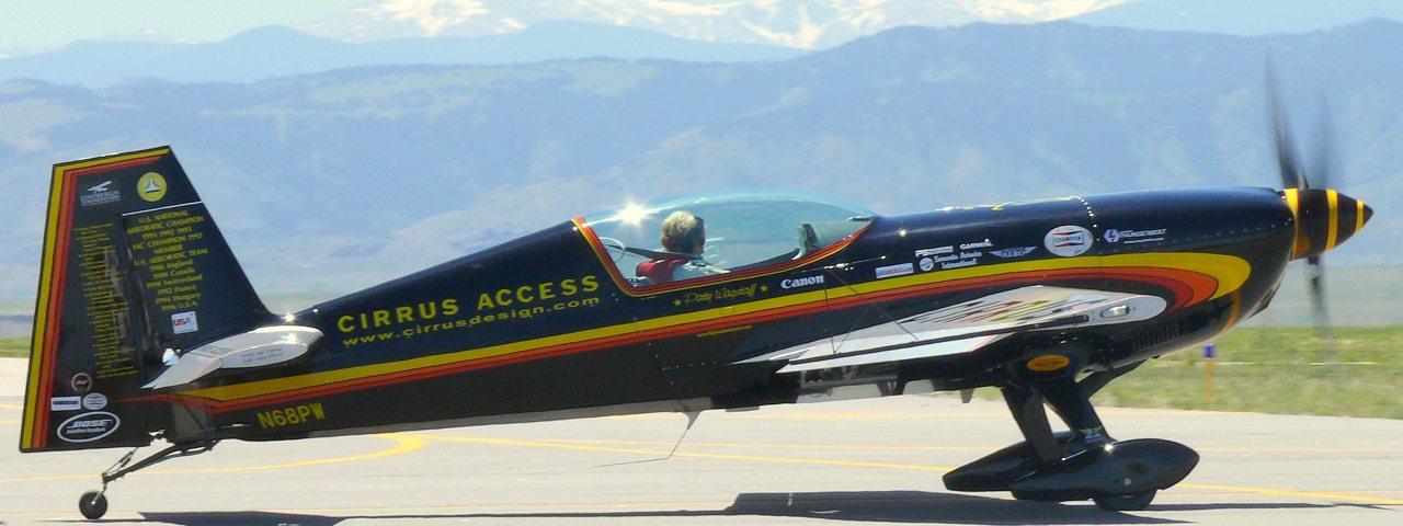 Patty Wagstaff in aerobatics plane