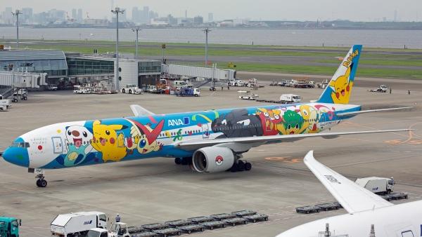 Pokemon livery on a Nippon Airways Boeing 777-300, Tokyo