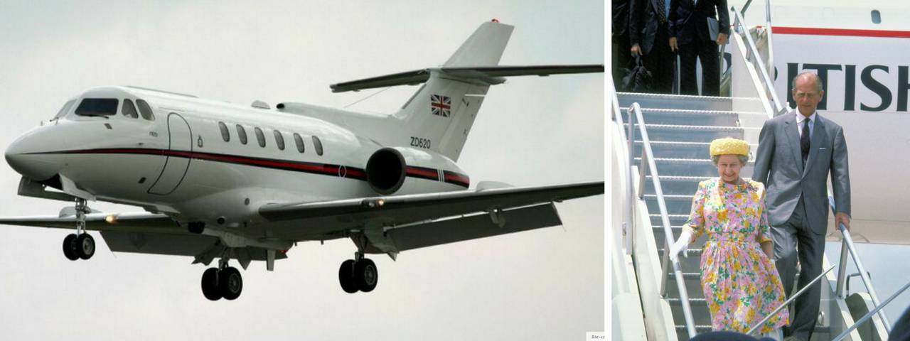 Elizabeth II on the right and her private jet in flight on the left