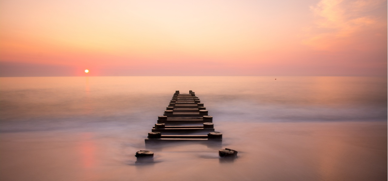 Rehoboth beach during sunset.