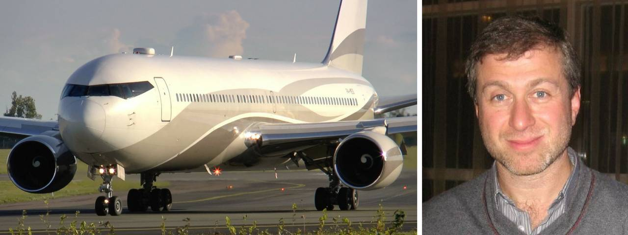 Roman Abramovich on the right and his private jet a runway on the left