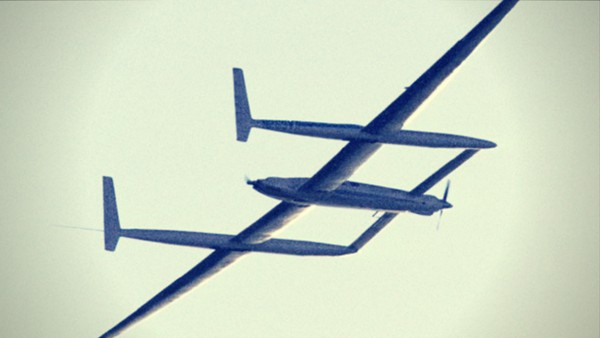 Photo of the Rutan Voyager airplane the first aircraft to fly around the globe without stopping