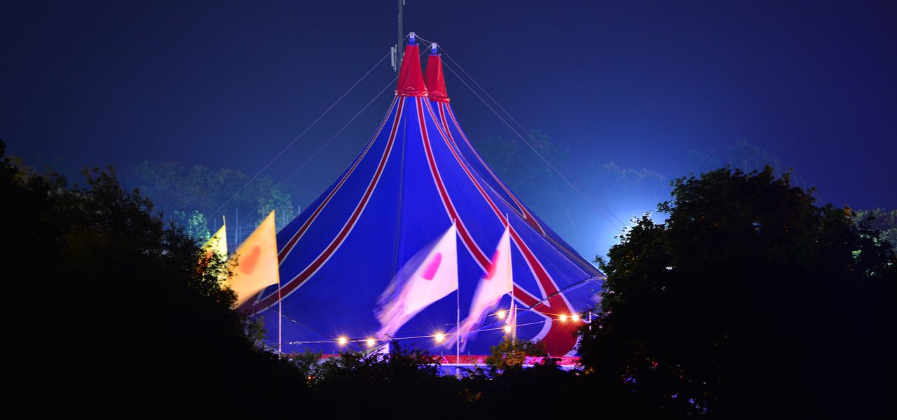 Big Top and flags at the Isle of Wight Music Festival in Newport, England