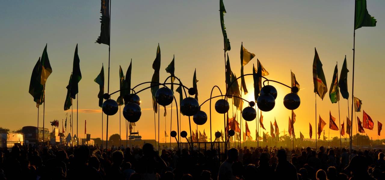 The Glastonbury Balls at Glastonbury music festival at sunset