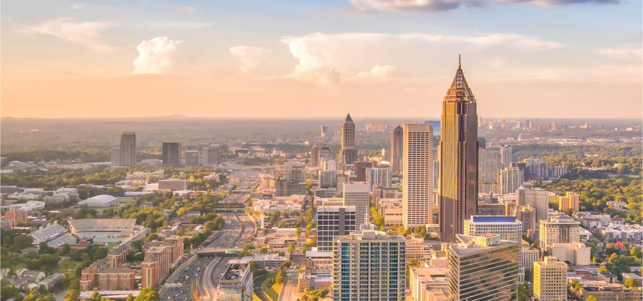Skyline of Atlanta city at sunset in Georgia