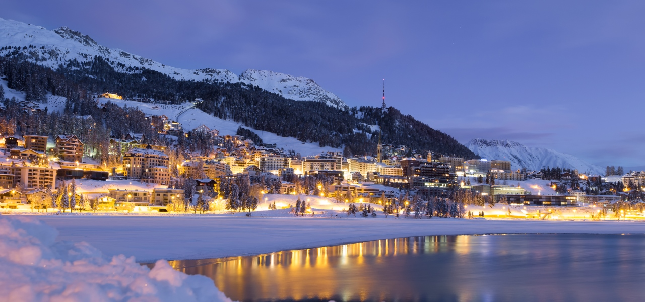 Beautiful St Moritz, perched on the edge of Lake St Moritz.