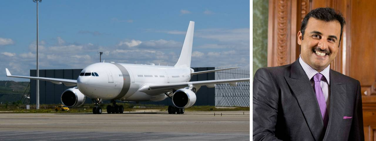 Tamim bin Hamad Al Thani on the right and his private jet on a runway on the left
