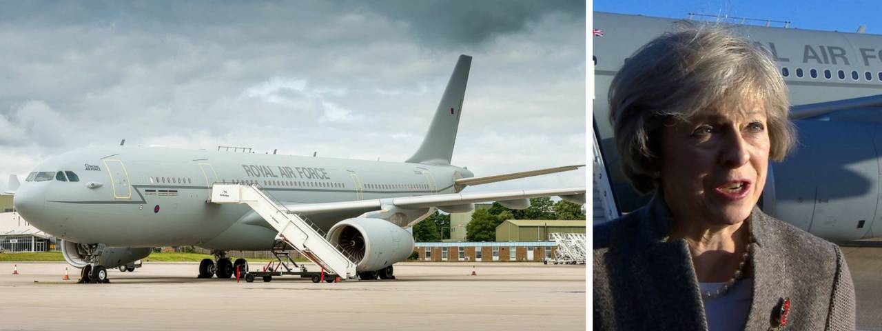 Theresa May on the right and her private jet on a runway on the left