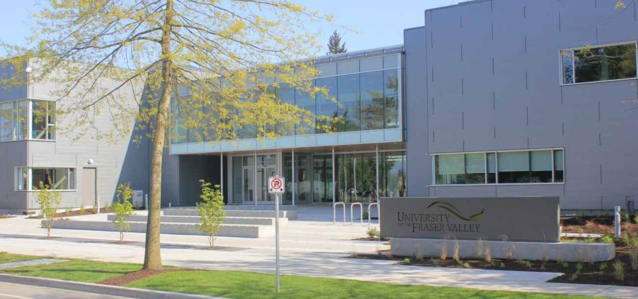 University of the Fraser Valley on a blue sky day.