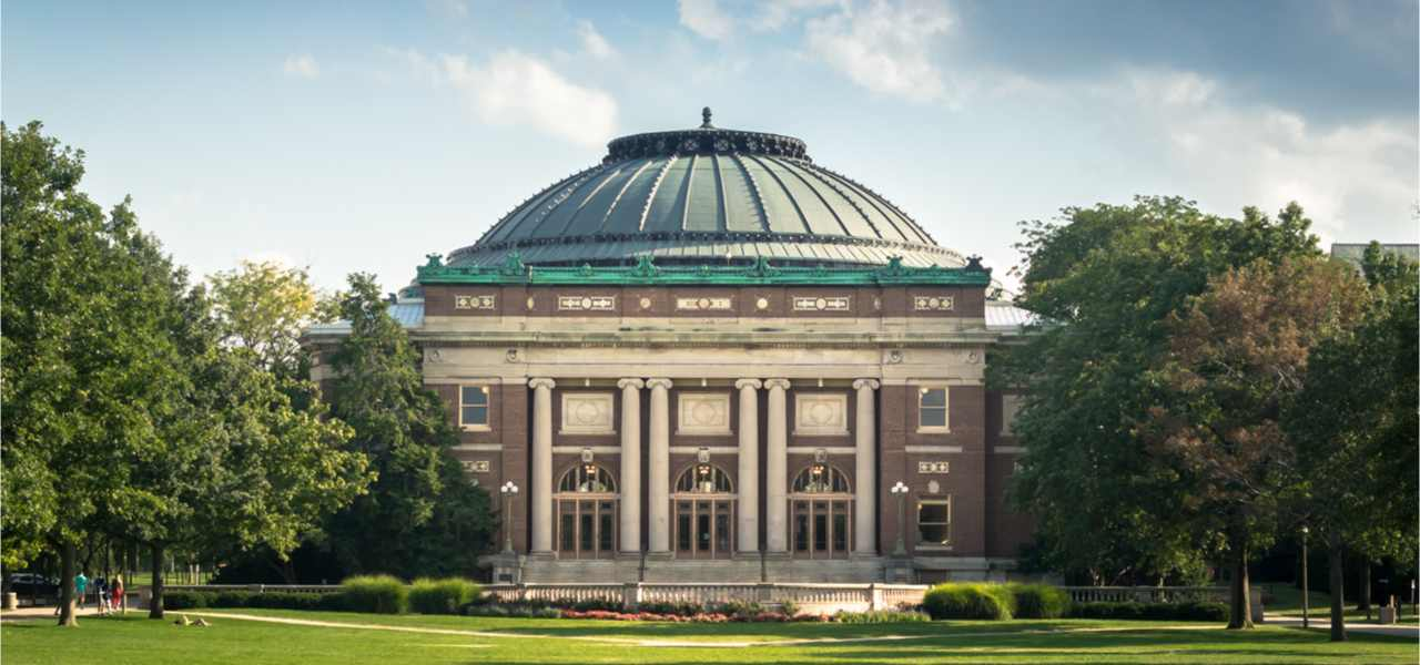 English building of the university of Illinois in Chicago