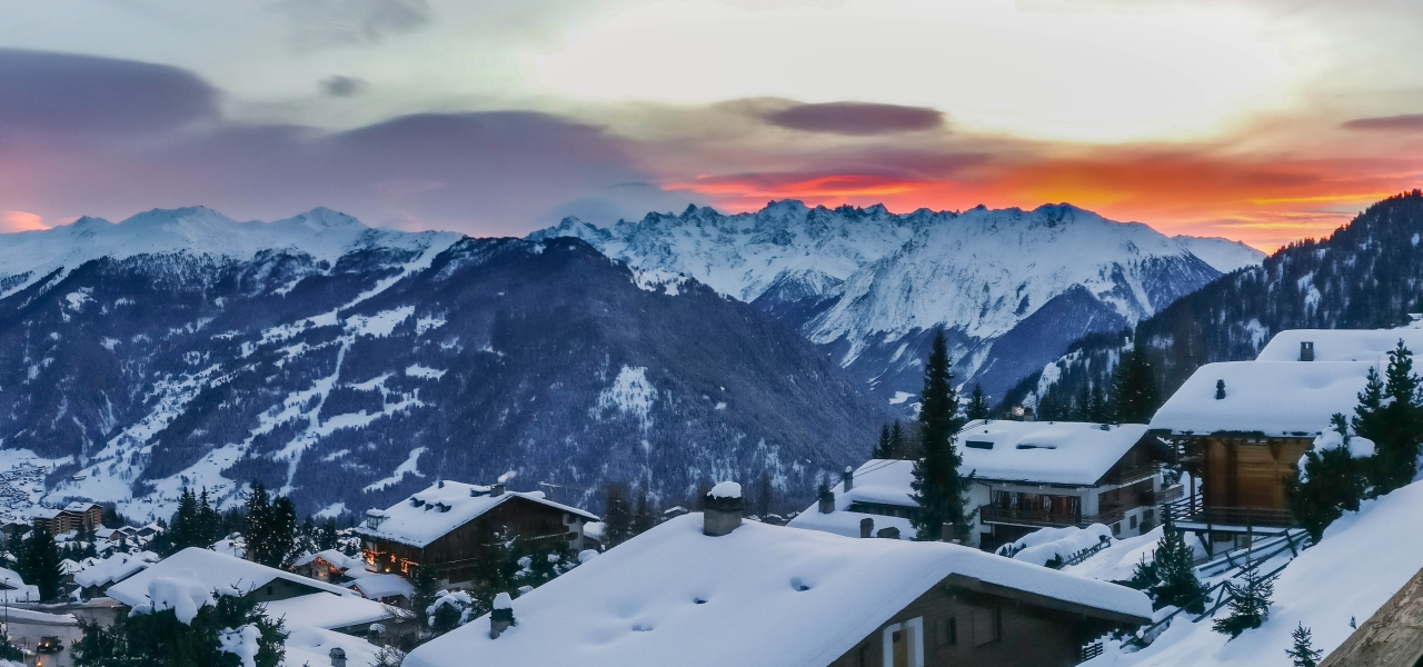 Beautiful views of the sunset from Verbier.