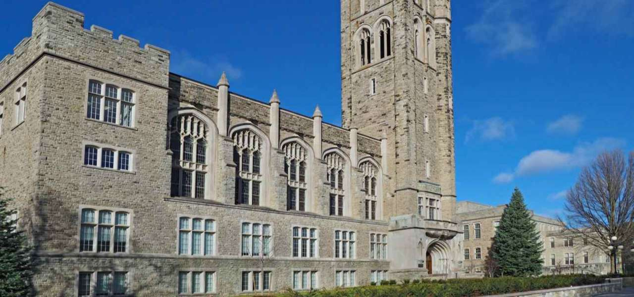 The Gothic Tower of Western University on a clear blue sky day.