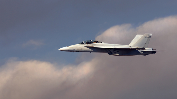 White navy F-18 Hornet Fighter jet