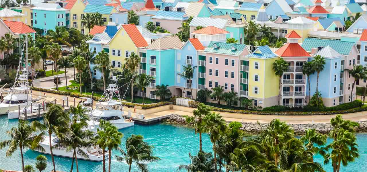 Aerial view of the Nassau, USA, colorful houses and beautiful harbour