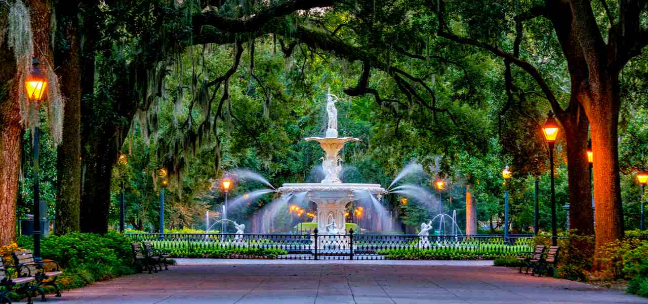 View to famous historic Forsyth Fountain and park in Savannah, Georgia